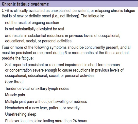 Table 1 Diagnostic Criteria For Chronic Fatigue Syndrome