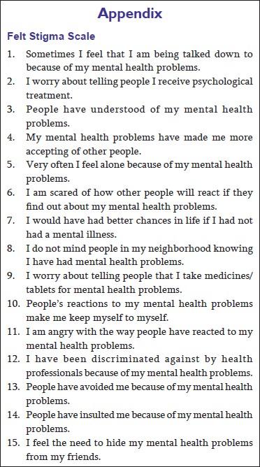 Felt Stigma And Self Esteem Among Psychiatric Hospital Outdoor And