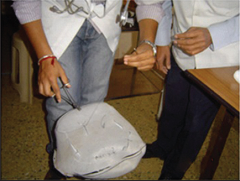 Figure 2: Using seat cover of scooter to teach suturing techniques